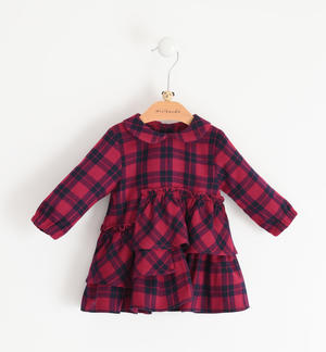 Bon ton dress in check fabric for newborn girl