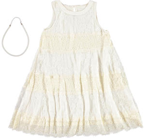 Girls ceremony dress: sophisticated floral lace dress YELLOW