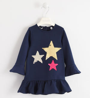 Dress with stars of reversible sequins BLUE