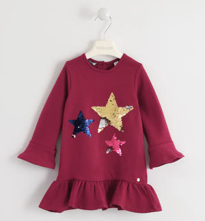 Dress with stars of reversible sequins RED