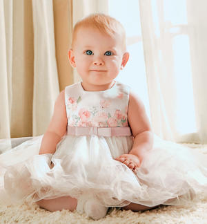 Baby girl dress with bridal satin top and print with floral touches PINK