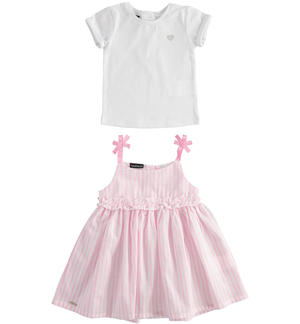 Two-piece t-shirt and pinafore dress PINK
