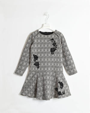 Squared effect dress with flock flower prints  BLACK