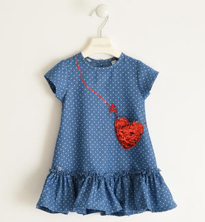 Micro polka dot chambray dress with sequined heart pocket BLUE