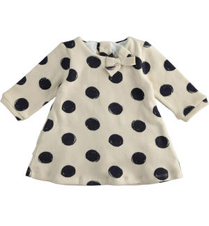 Tricot-effect cotton dress with maxi polka dots