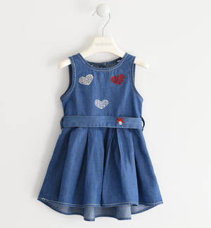 100% cotton denim dress BLUE
