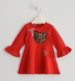 Fleece dress with strass letters RED