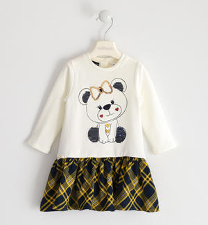 Brushed fleece dress with cute sequined teddy bear