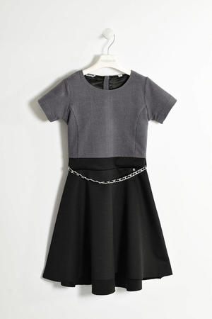 Lurex knit dress with satin skirt  BLACK