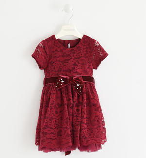 Dress completely made of lace and enriched by an adjustable velvet belt  PINK