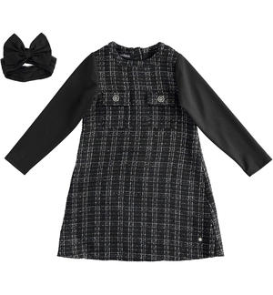 Chanel effect fabric dress with detachable collar BLACK