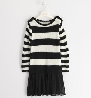 Dress in soft tricot with a striped pattern CREAM