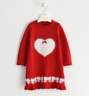 Sweet Sarabanda winter knitted dress, enriched with hearts RED
