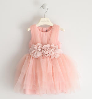 Tulle dress with flower belt PINK