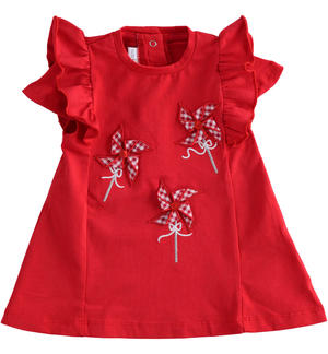 Stretch cotton jersey half sleeve baby girl dress RED