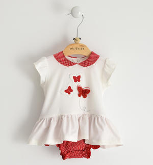Newborn girl stretch cotton romper dress with red butterflies details and rhinestones WHITE