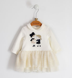 Fleece dress for newborn girl with tulle skirt
