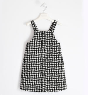 Houndstooth pinafore dress BLACK