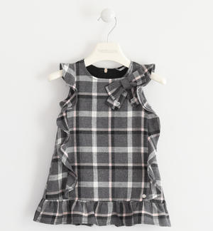 Dress made of soft fabric with a check pattern PINK