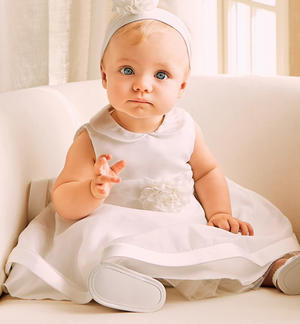 Sleeveless dress for baby girl made of organza with collar and flounce CREAM