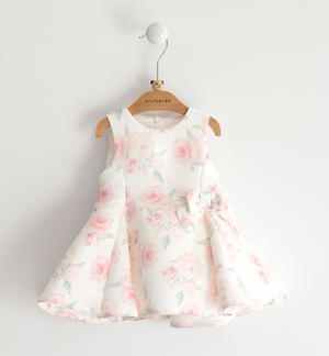 Sleeveless ottoman baby girl dress with delicate all over roses print CREAM