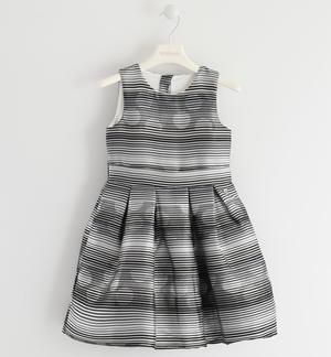 Sleeveless dress made of jacquard shuttle fabric and lurex thread GREY
