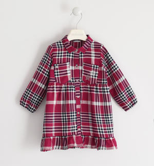 Checkered shirt style dress RED