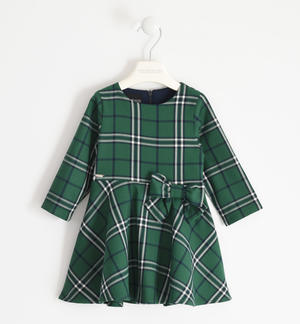 Tartan fabric dress with bow