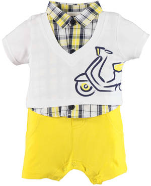 Baby romper in combed cotton stretch jersey WHITE