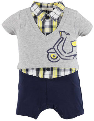 Baby romper in combed cotton stretch jersey GREY