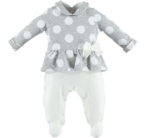 Cheerful polka-dot romper with bow  GREY