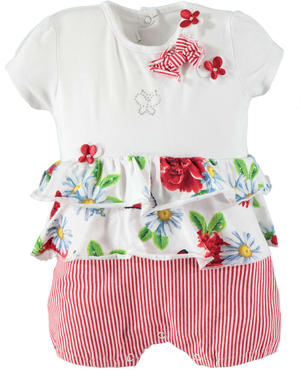 Cheerful and colourful baby girl cotton romper suit with butterflies RED