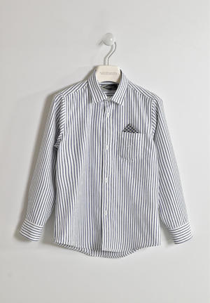 Striped fabric boy shirt with pocket and handkerchief WHITE