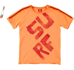 Boy's short-sleeved 100% cotton t-shirt ORANGE