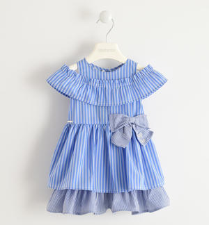 Pretty dress in cool striped poplin BLUE