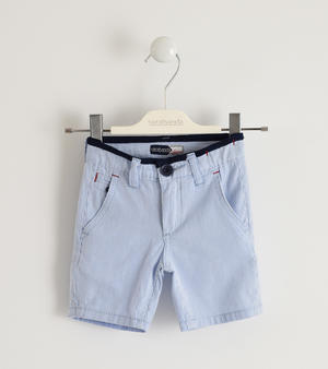 100% cotton short trousers with striped fabric BLUE