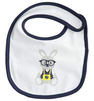 Stretch cotton newborn bib with Velcro closure WHITE