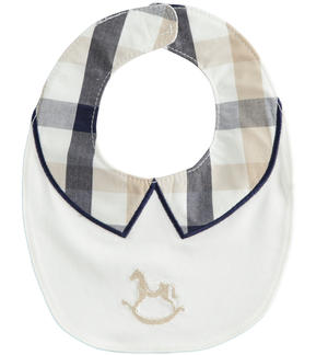 Stretch cotton newborn bib with fake collar