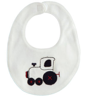 Multi-embroidery newborn bib CREAM