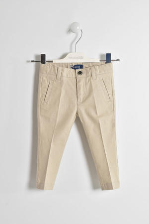 Elegant cotton and linen blend trousers BEIGE
