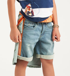 Boy's denim effect fleece Bermuda shorts with side bands BLUE