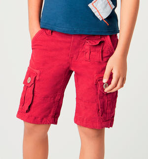 Boy's stretch cotton Bermuda shorts with pockets RED