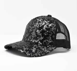 Girl's black sequined baseball cap BLACK