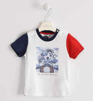 100% cotton T-shirt with little dogs and motorcycles print WHITE