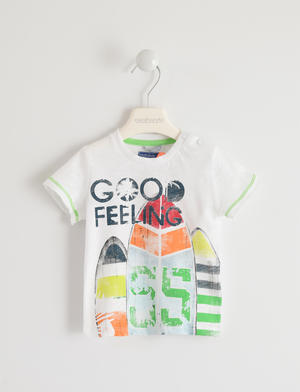 Colorful 100% cotton t-shirt with surf print WHITE