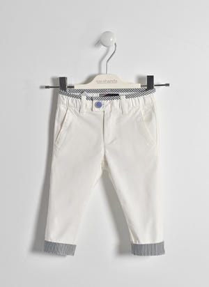 Twill trousers with patterned turn-up WHITE