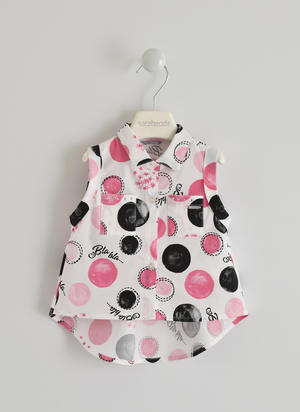 Sleeveless shirt with polka dots and lettering pattern WHITE