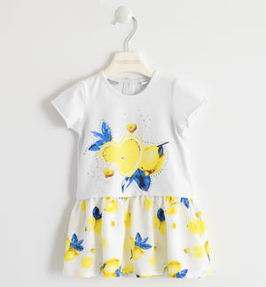 Short-sleeved dress with lemon pattern WHITE