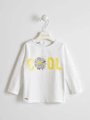 Crew neck with sequin COOL lettering WHITE