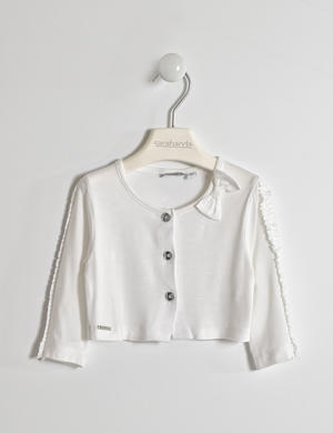 Girl's viscose shrug with three-quarter sleeves WHITE